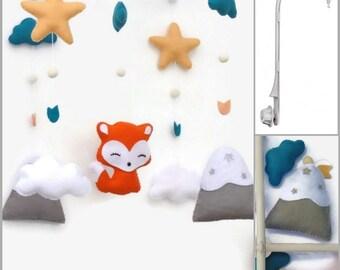 Baby crib musical mobile. Felt fox mobile , mountain , star , cloud. Nursery decor. Personalized nursery.