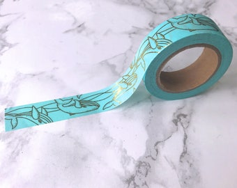 Turquoise & Gold Foil Whale / Sea Life Washi Tape // Decorative Paper Masking Drafter Planner Scrapbooking Tape