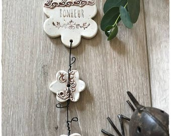Garland in white, brown color ceramic stoneware