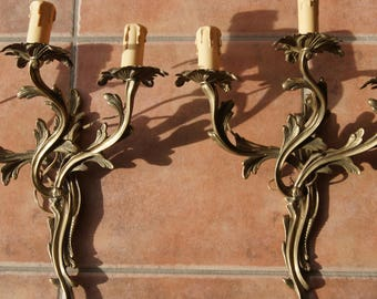Pair French Antique bronze sconces Wall Lamps