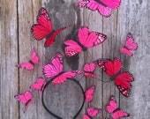 La Rosa Butterfly Pink Fascinator, Unique Pink Headpiece, Headdress, Headband, Large Hat, Derby, Spring Hat