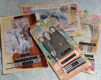Vintage Altered Ephemera Set: Tags & Journal Cards