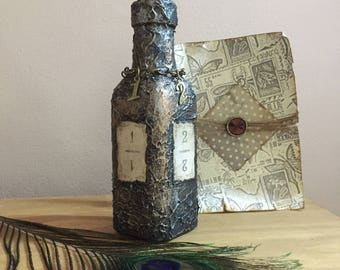 Glass bottle, Altered bottle, Mixed media bottle, Old bottle, Gothic bottle, Numbered bottle, Steampunk bottle, Antiqued bottle, Ooak
