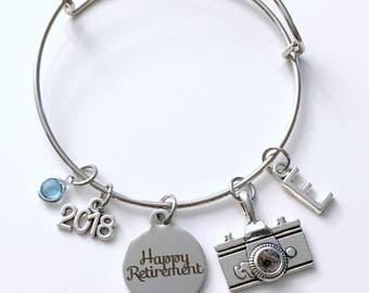 Retirement Gift for Photographer, 2018 Photography Camera Charm Bracelet Jewelry Silver Bangle Coworker letter initial birthstone Present