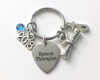 Graduation Gift for Speech Therapist Keychain, 2018 Therapy Key Chain, Initial Birthstone Grad Present Keyring 2019 Graduate scroll women