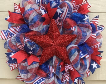 Fourth of July wreath,Patriotic wreath,July 4th wreath,July 4 wreath,Red White Blue wreath,Star wreath,Fourth July decorations,July 4 decor