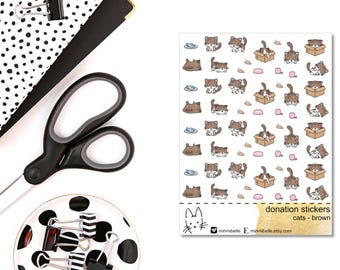 DONATION STICKERS - cats brown - Planner Sticker