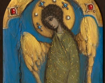 Original Religious Angel Painting on Wood, Christian Wall Art, Blue Angel, Nursery Angel, precious stones, Children illustration