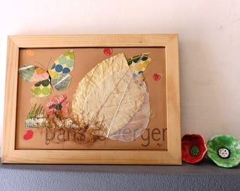 Collage, orchard, butterfly, leaf, autumn,