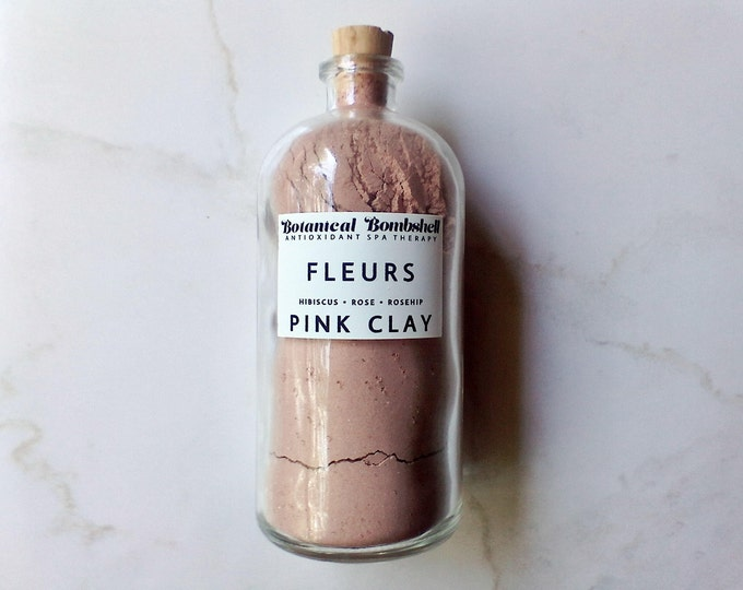 Fleurs Rose-Hibiscus-Rosehip French Pink Clay Powder/Rose Petals, Wild Rose & Hibiscus Flowers/Softening and Brightening Mask 2.5 oz 75 mL