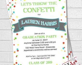 Graduation Party Invitation, Graduation Party Invite, Graduation Announcement, Class of 2018 Invitation, Grad Party Confetti | PRINTABLE