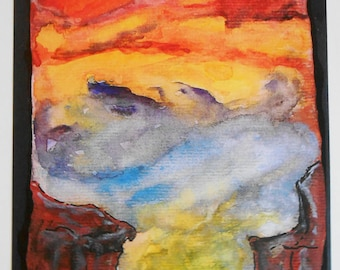 Reprography artistic watercolor sky abstract purple blue orange yellow Sun coated A4 size