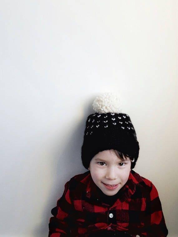 Hand Knit FAIR ISLE POM Toque // Baby Hats // Kid Hats //