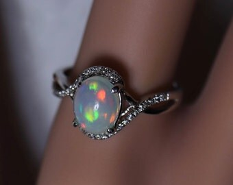 FABULOUS micropaved sterling silver ring with a glowing rainbow fird, natural opal ring, opal jewelry, opal engagement ring, anniversary