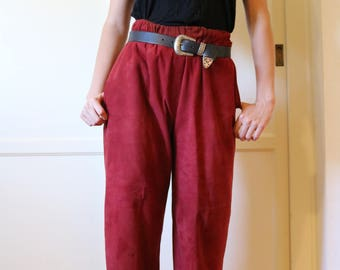 80s Vintage Red Suede High-Waisted Pants
