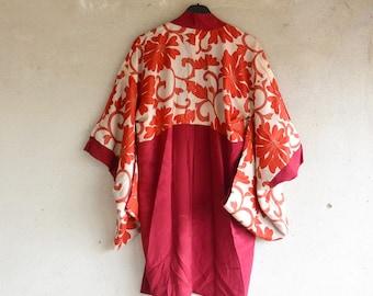 Vintage Kimono Haori/ Vintage Haori Jacket/ Vintage Japanese Silk Haori