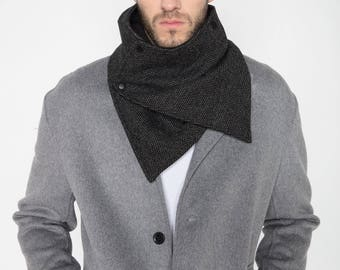 mens scarf, scarf with snaps, winter scarf, neckwarmer scarf ,mens neckwarmer, mens cowl, mens grey scarf, mens black cowl, grey neckwarmer