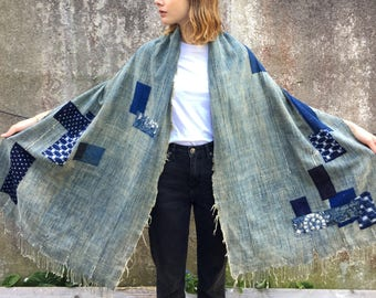 Vintage African Scarf/ Shawl With Japanese Patchwork