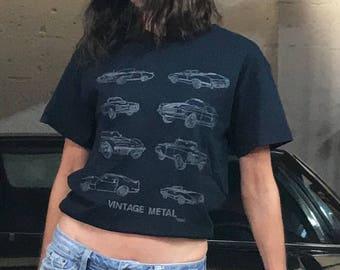 "Muscle Car T-Shirt By Maria B. Hand Drawn Screen Print ""VINTAGE METAL"" Classic Car Black T-Shirt."