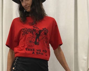 """Pin Up Riding A Bike T-Shirt By Maria B. Hand Drawn Screen Print """"Take Me For A Spin"""" Bicycle Red T-Shirt. Size Medium."""