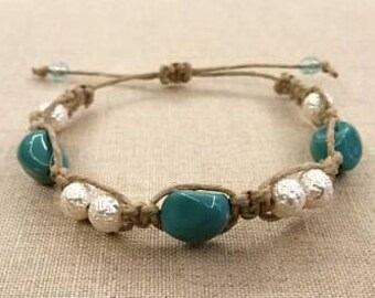 Square Knot Hemp Bracelet with White and Turquoise Beads-Macrame Bracelet