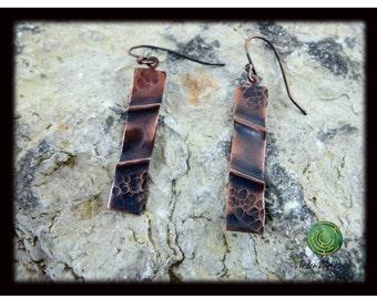 Fold Formed Copper Dangle Earrings Hammered Copper Earrings