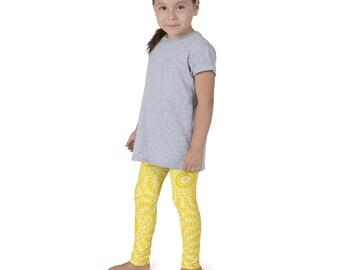 Gold Leggings for Girls, Yellow and White Kids Yoga Leggings, Children's Printed Leggings