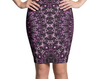 Purple Pencil Skirt, Stretchy Purple and Pink Patterned Skirt, Women's Knee Length Skirt