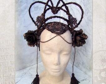 Tribal Fusion Headdress, Bronze Headband, Dark Headdress, Crown, Tribal Headpiece, Dark Fusion Headdress, Goth Headdress, Tribal belly dance