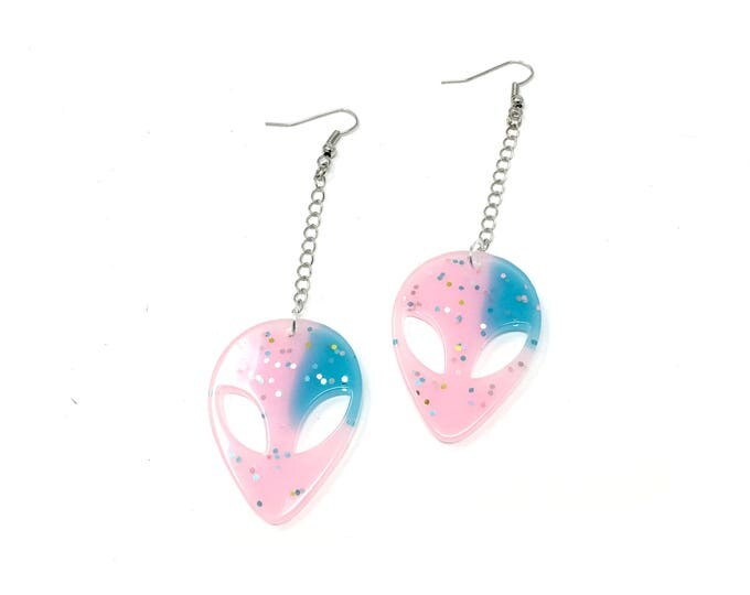 ALIEN: blue and pink alien earrings