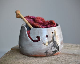 Rustic blue yarn bowl with moose handmade ceramic pottery