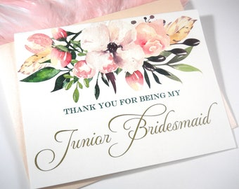 Thank You for being my JUNIOR BRIDESMAID Card, Junior Bridesmaid Gift, Junior Bridesmaid Thank You Card, Junior Bridesmaid Card, Bridesmaid