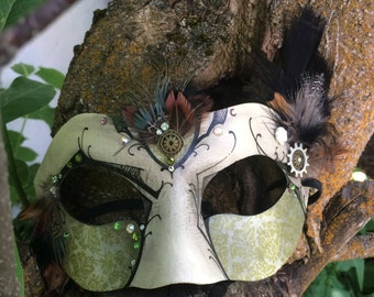 Green and Cream Steampunk Mask