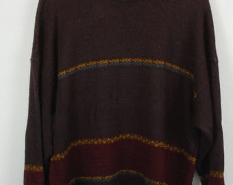 Vintage Sweater, Vintage Knit Pullover, 80s, 90s, brown, oversized look, with wool