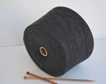 Wool yarn Black on cone 1650gr / 58,20 Oz // NM 15/1 ,  Anthracite Spool yarn, Machine yarn, Cone Yarn, Thread yarn, knitwear Yarn