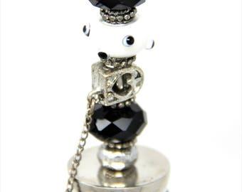 Black and White Bottle Stopper Wine Topper Bumpy Bead Bottle Topper Fun Bottle Topper