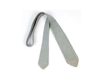 Vintage 20s Necktie - 20s Tie - 20s Cravat - 20s Silk Necktie - 20s Foulard Necktie - Silk Foulard Necktie - McCurrach - Blue Black White