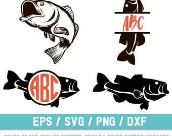 Bass Fish svg, Bass Fish  svg file, Bass Fish  cut file, Bass fish  Monogram svg, Fish svg, Fish svg file, Fish cut file, Fishing svg