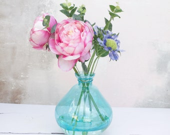 Peony - faux peony - artificial peony - wedding flowers - faux bouquet- glass vase - hand tied bouquet - artificial flowers - Real touch