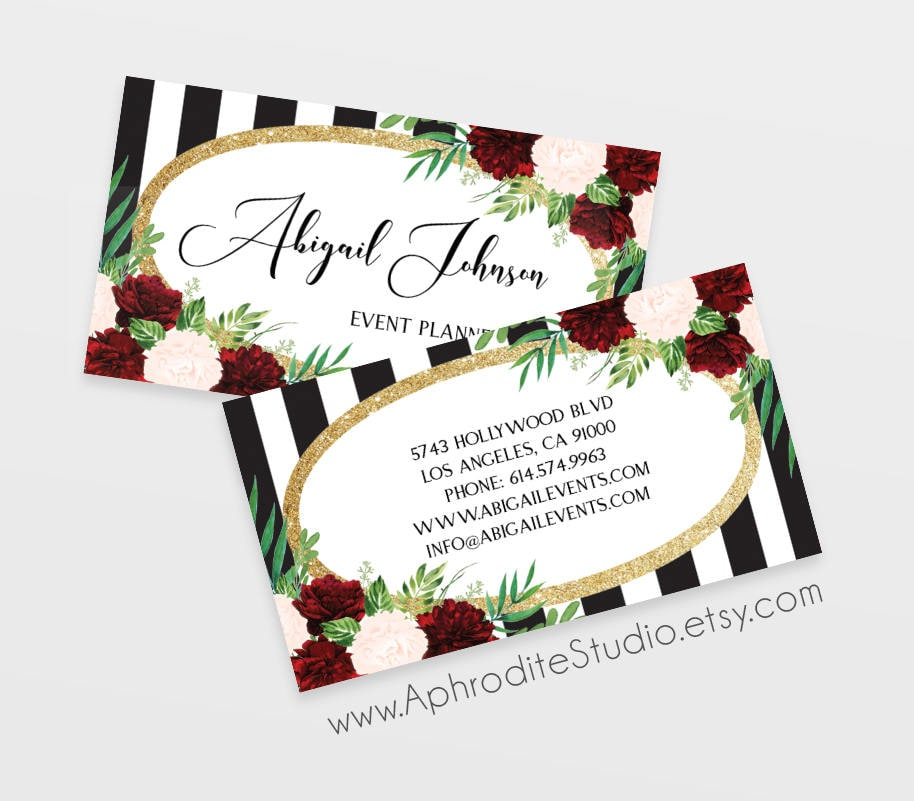 event planner business cards striped business cards printable