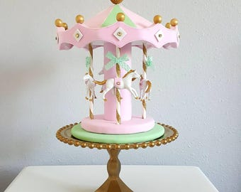 Carousel cake topper / centerpiece - white, pink, gold, mint