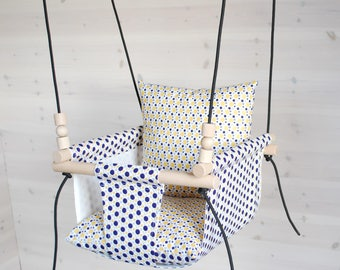 Baby Swing With Reversible Pillows /Toddler Swing// Nursery Swing/ Indoor Swing/Outdoor Swing/ Cotton Linen Fabric Swing/ Baby Swing