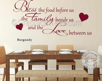 Bless The Food Before Us Inspirational Family Wall Sticker Quote Kitchen Dining  Room Wall Art Decor Part 72