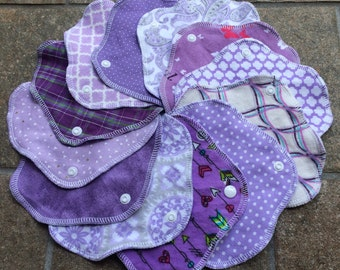 Purple, 3-7-14 Reusable Cloth Pantyliners, Panty Liners, 100% Woven Cotton & Flannel, Winged, 3 Sizes, Variety Pack