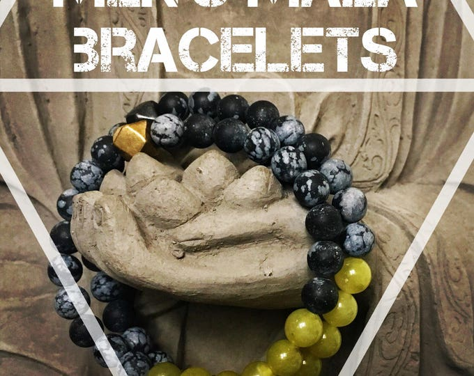 Featured listing image: Enlightenment Mala, Mens Mala Bracelet, Mens Yoga Jewelry, Mens Bracelet, Heart Chakra