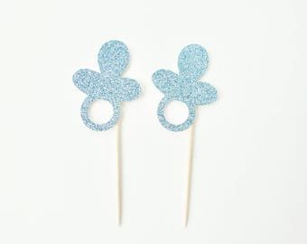 Blue Pacifier Cupcake Toppers - Set of 12