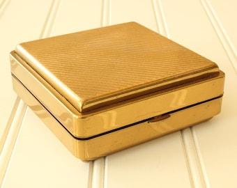 Vintage Brass Jewelry Case Two Tiered Jewelry Box Green Velvet Interior Travel Jewelry Case