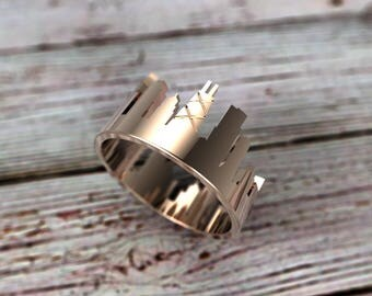 Solid Gold Chicago Skyline Ring - Chicago Ring - Chicago Gift - Chicago Jewelry - Chicago Souvenir - Chicago Cityscape - Illinois