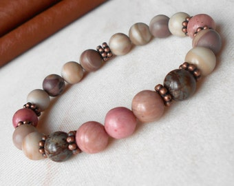 Bead Bracelet Women Mala Bracelet Pink Beaded Bracelet Energy Bracelet  Chakra Bracelet Gemstone Bracelet Yoga Bracelet Pink Stone Bracelet