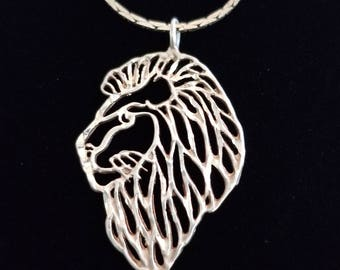 CP123 Vintage Sterling Silver Necklace with Sterling Silver Filigree Lion Head Pendant